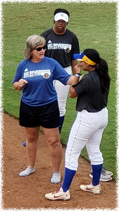 Cindy Brisotw University of California Riverside Assitant Coach Action Shot